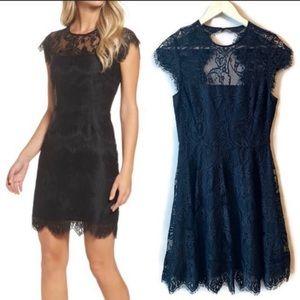 BB Dakota black lace sheath cocktail mini dress